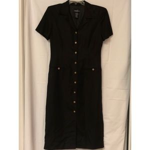 Positive Attitude Solid Front Button New Dress